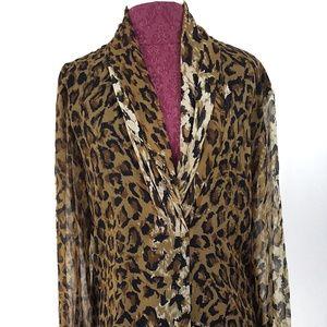 Women's Long Sleeve Cheetah Print Top size 4